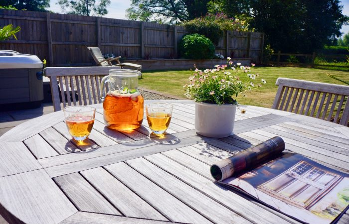 jug of pimms on outside table